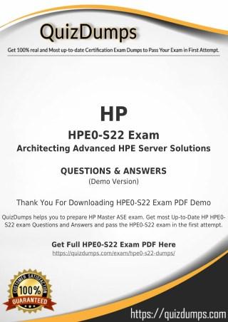 HPE0-S22 Exam Dumps - Actual HPE0-S22 Dumps PDF