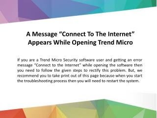 Connect To The Internet Message Trend Micro Antivirus
