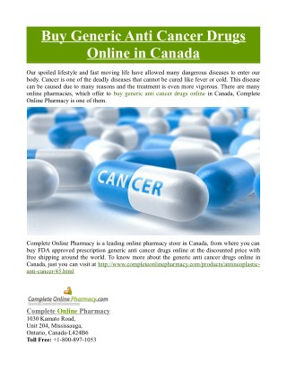 Buy Generic Anti Cancer Drugs Online in Canada