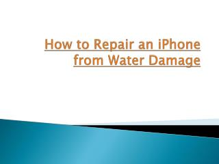 How to Repair an iPhone from Water Damage