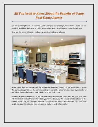 All You Need to Know About the Benefits of Using Real Estate Agents