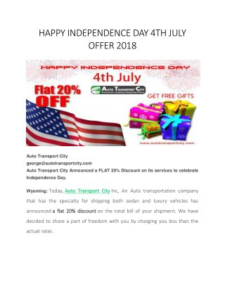 Happy independence day 4 th july offer 2018