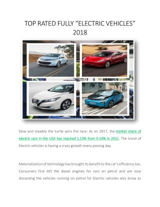 "TOP RATED FULLY ""ELECTRIC VEHICLES"" 2018"