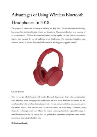 Advantages of Using Wireless Bluetooth Headphones In 2018