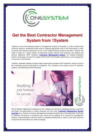 Contractor Management System Software