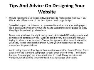 Tips And Advice On Designing Your Website