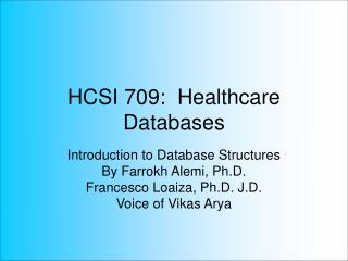 HCSI 709:  Healthcare Databases