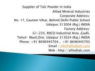 Supplier of Talc Powder in India