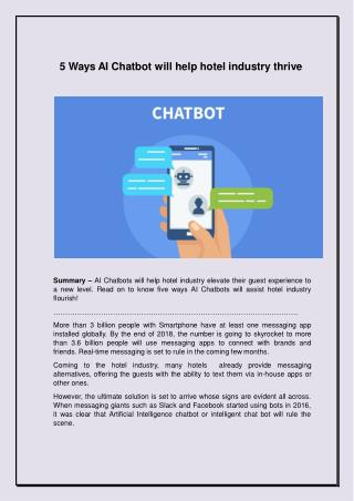 5 Ways AI Chatbot will help hotel industry thrive