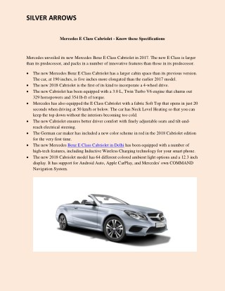 Mercedes E Class Cabriolet - Know these Specifications