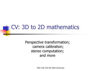 CV: 3D to 2D mathematics