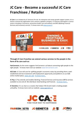 JC Care - Become a successful JC Care Franchisee / Retailer