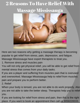 2 Reasons to have Relief With Massage Mississauga