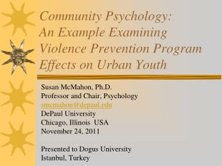 Community Psychology: An Example Examining Violence Prevention Program Effects on Urban Youth