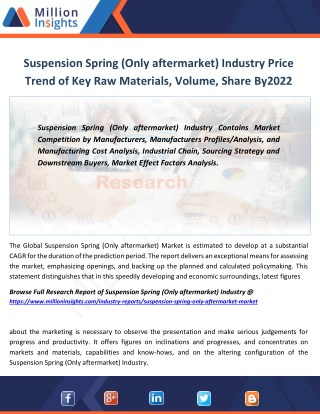 Suspension Spring (Only aftermarket) Industry Key Raw Materials Analysis,Price Trend From 2017-2022