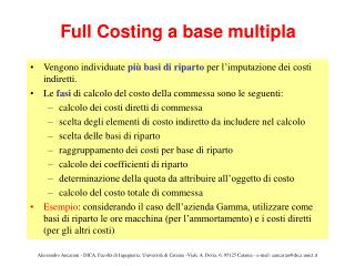 Full Costing a base multipla