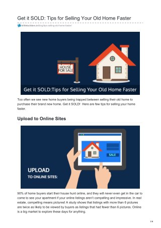Tips for Selling Your Old Home Faster
