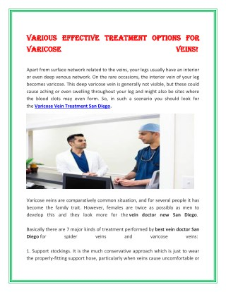 Various effective Treatment Options for Varicose Veins