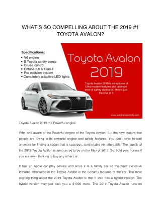 WHAT'S SO COMPELLING ABOUT THE 2019 #1 TOYOTA AVALON?