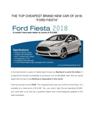 "THE TOP CHEAPEST BRAND NEW CAR OF 2018: ""FORD FIESTA"""