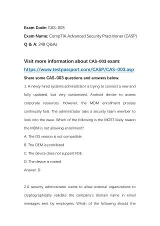 2018 Testpassport CompTIA CAS-003 Practice Questions