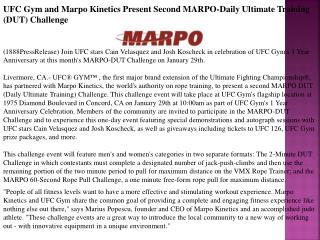UFC Gym and Marpo Kinetics Present Second MARPO-Daily Ultima