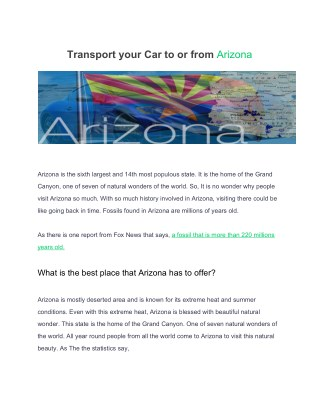 Transport your car to or from arizona