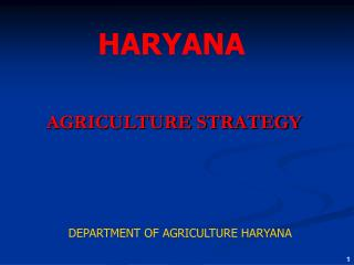 AGRICULTURE STRATEGY