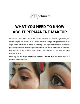 What You Need To Know About Permanent Makeup