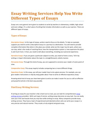 Essay Writing Services Help You Write Different Types of Essays