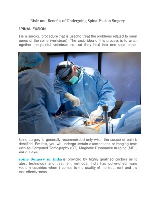 Risks and Benefits of Undergoing Spinal Fusion Surgery