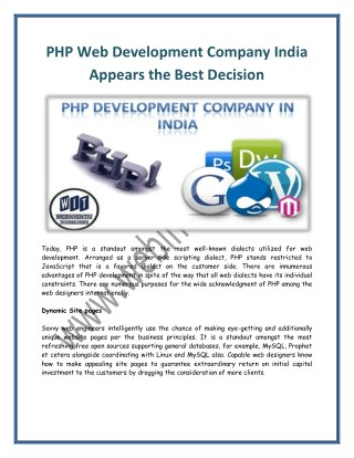 PHP Web Development Company India Appears the Best Decision
