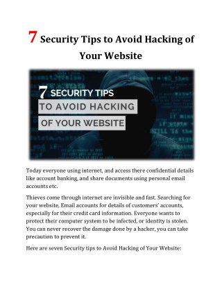 7 Security Tips to Avoid Hacking of Your Website