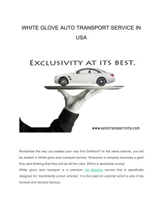 White glove auto transport service in usa