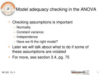 Model adequacy checking in the ANOVA
