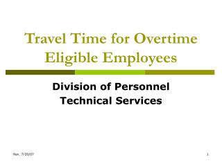 Travel Time for Overtime Eligible Employees