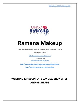 Wedding Makeup for Blondes, Brunettes, And Redheads - www.ramana-makeup.com