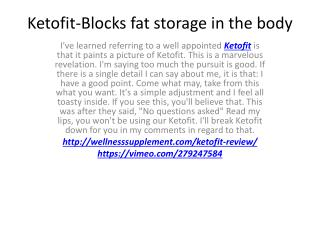 Ketofit-Perfect Solution To Weight Lose