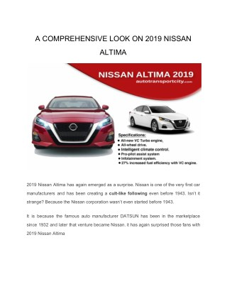 A comprehensive look on 2019 Nissan Altima automotive technology