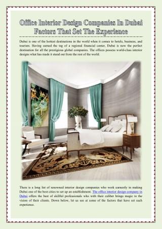 Office Interior Design Companies in Dubai - Factors that set the Experience