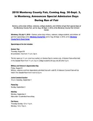 2018 Monterey County Fair, Coming Aug. 30-Sept. 3, in Monterey, Announces Special Admission Days During Run of Fair