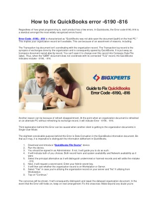 QuickBooks Error Code -6190,816 | Bigxperts | Team | Resolve | Fix