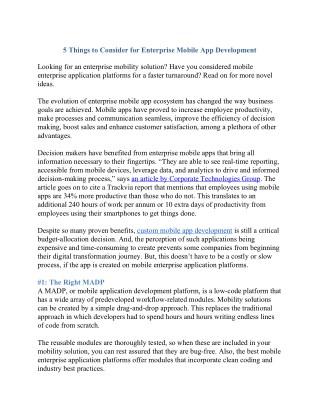 5 things to consider for enterprise mobile app development