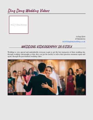 Get Best Wedding Videography In Essex