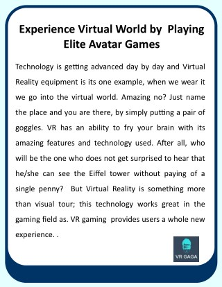 Uploading Experience Virtual World by Playing Elite Avatar Games