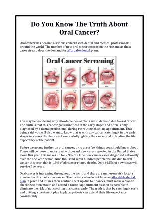 Do You Know The Truth About Oral Cancer