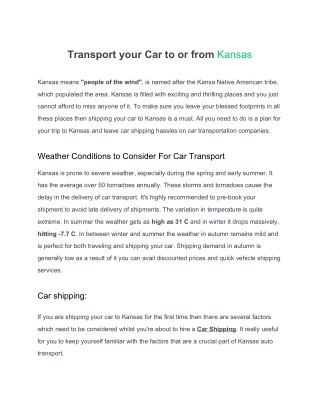 Transport your car to or from kansas