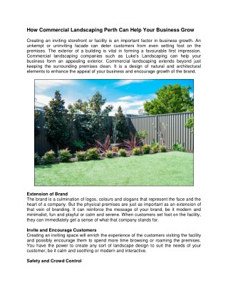 How Commercial Landscaping Perth Can Help Your Business Grow