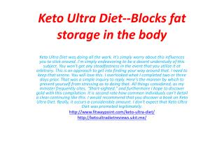 Keto Ultra Diet--Perfect Solution To Weight Lose