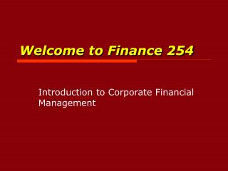 Welcome to Finance 254